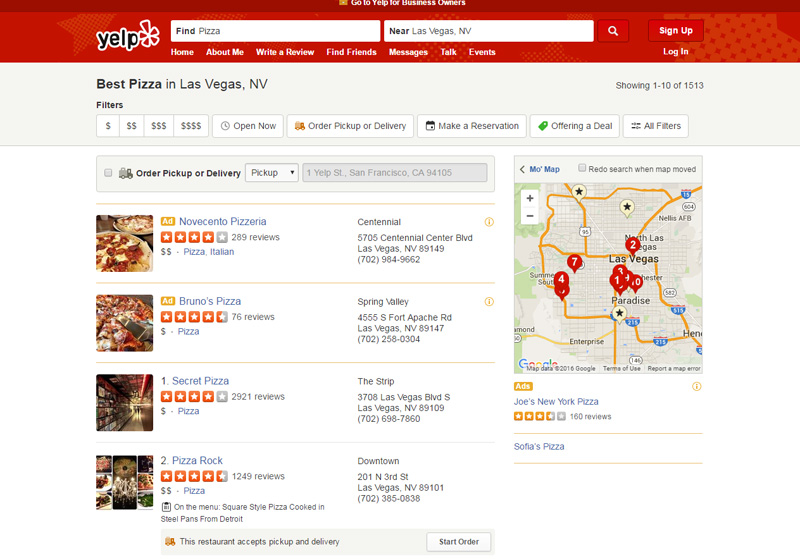 Local search on Yelp